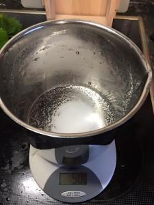 Salz auf Waage